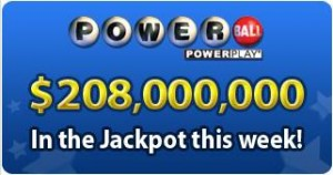 USA Powerball jackpot of $208 million